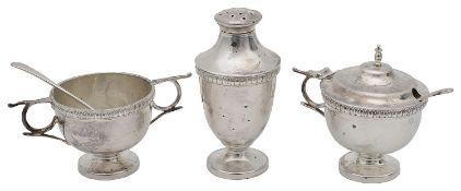 A George V silver three piece cruet set