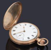 A 9ct gold full hunter top wind Waltham pocket watch with Masonic presentation inscription