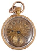 A late 19th c Swiss ladies 18K gold open faced keyless pocket watch