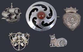 A Victorian silver heart shaped locket/scent bottle holder
