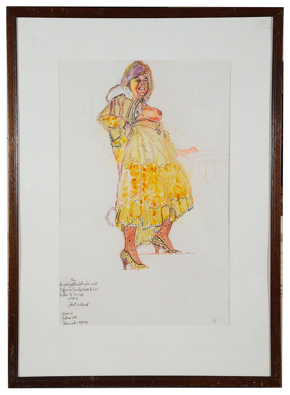 Lot 42 - John Bratby R.A. (Brit. 1928-1992) 'Patti in Yellow Dress', mixed media, signed