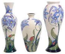 Three Modern Moorcroft pottery 'Fly Away Home' pattern vases designed by Rachel Bishop