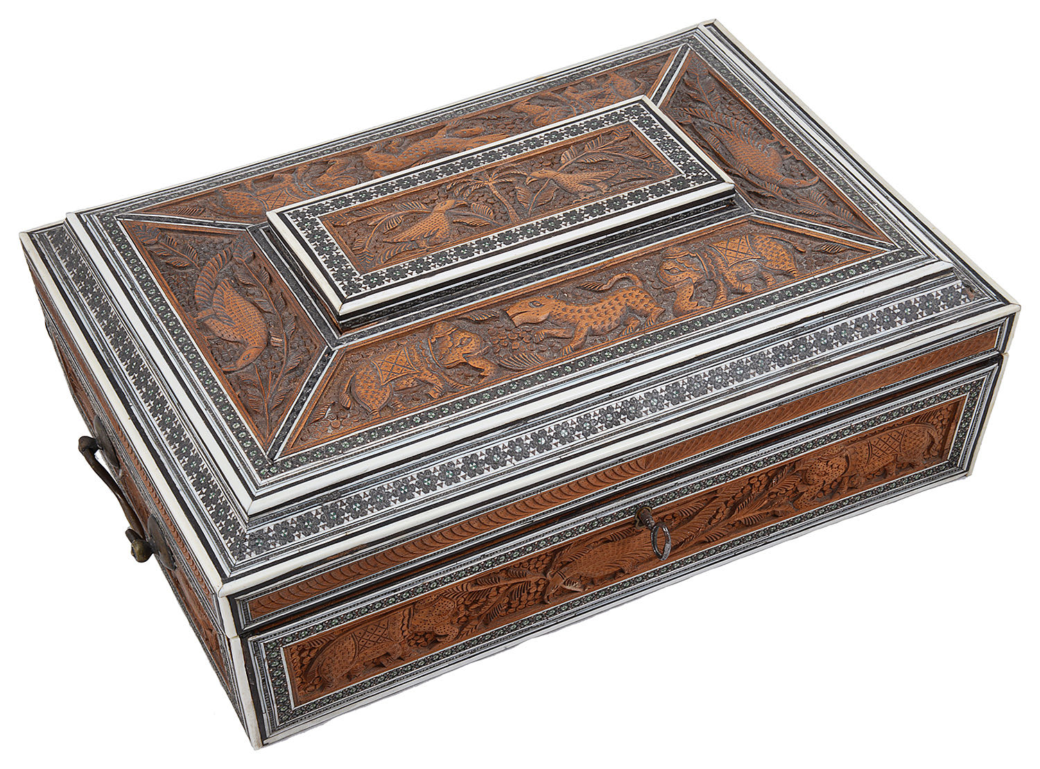 Lot 12 - A 19th century Anglo-Indian sandalwood, ivory and sadeli work box