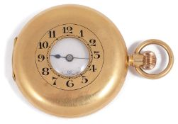 An early 20th century 18ct gold half hunter keyless pocket watch