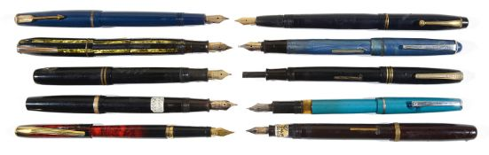 A large collection of fountain pens dating from early to mid 20th c