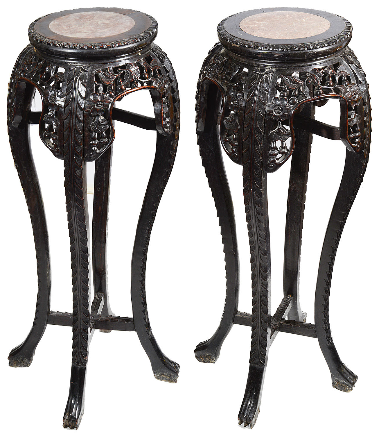 Lot 6 - A pair of late 19th century Chinese hardwood jardiniere stands
