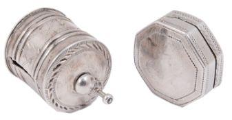A George III silver vinaigrette and a tape measure