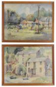 Dorothy Bradshaw (British b 1897) 'Farmyard scene' and another watercolour
