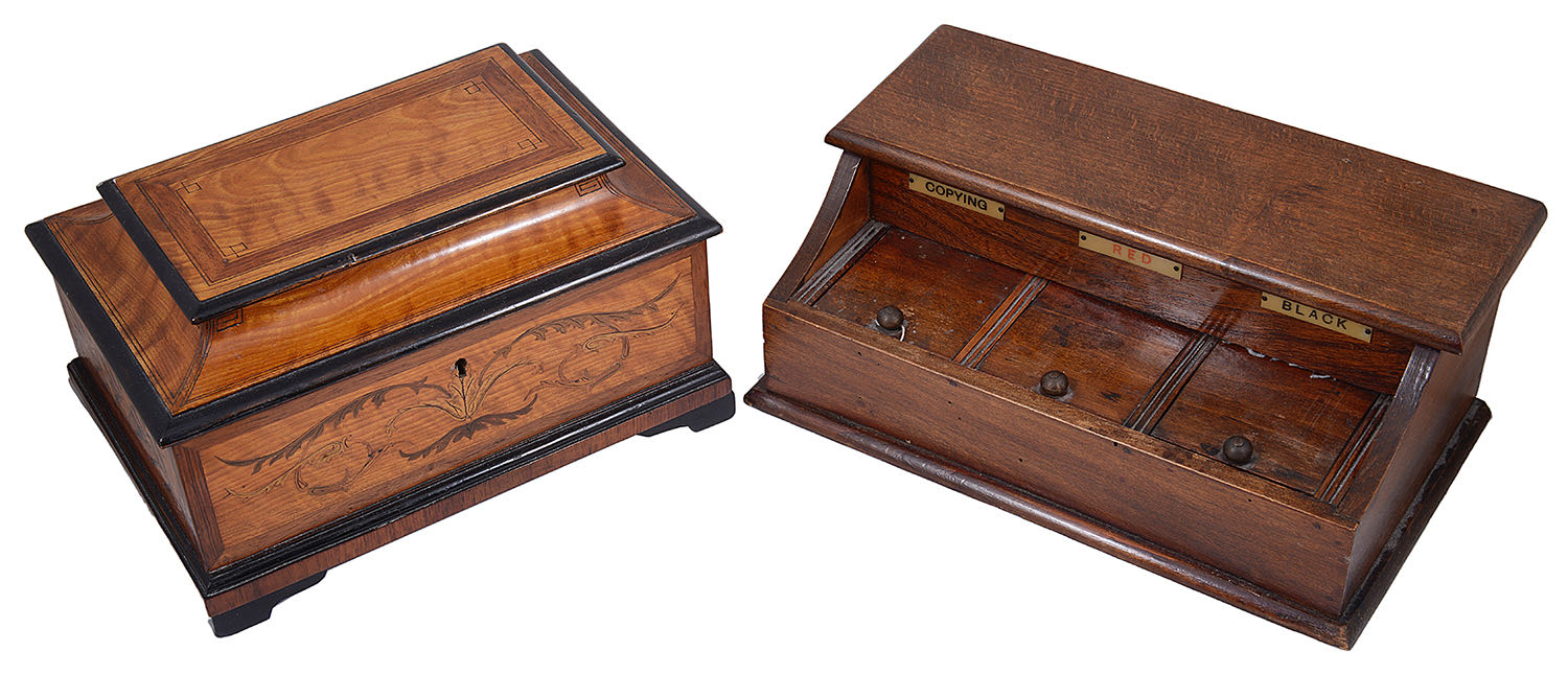 Lot 14 - An Edwardian satinwood and marquetry table box and an early 20th c desk stand