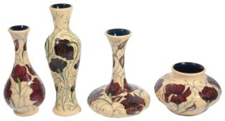 Four Modern Moorcroft pottery 'Chocolate Cosmos' pattern vases designed by Rachel Bishop