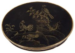 An early 18th c gold coloured metal mounted tortoiseshell and pique work oval snuff c.1720