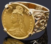 A Victorian half sovereign ring