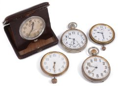 Five Goliath open faced pocket watches