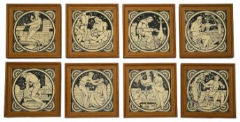 Eight late 19th c Mintons tiles depicting trades designed by John Moyr Smith