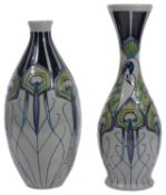 Two modern Moorcroft pottery 'Peacock Parade' pattern vases designed by Nicola Slaney