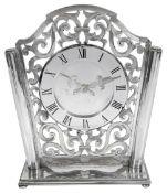A modern silver Asprey mantle clock