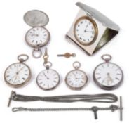 A George V silver travel clock and five silver pocket watches