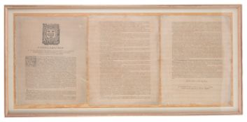 A 17th c proclamation, Oxford, John LichfieldM.DC.XXXIV, mounted