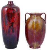 Two Royal Doulton flambé veined vases