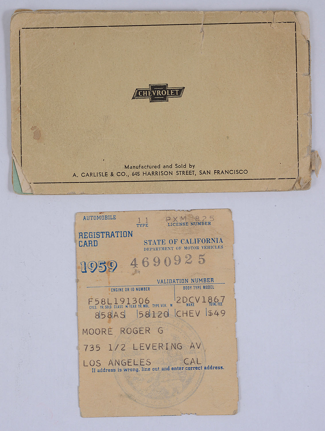 Lot 17 - Roger Moore Interest. A Chevrolet Owner's Service Coupon booklet, 1959, signature in blue ink