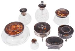 Collection of George V silver and tortoiseshell trinket boxes; others