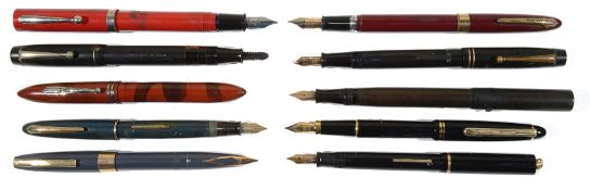 A large collection of fountain pens