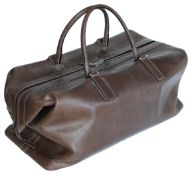 A Tanner Krolle stitched brown leather weekend bag