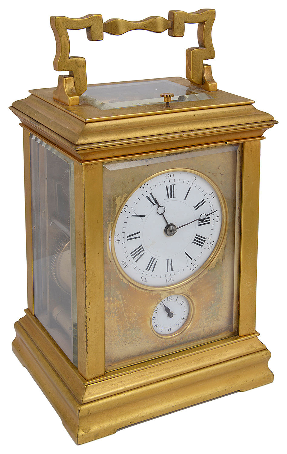 Lot 24 - A late 19th century French ormolu repeating carriage clock