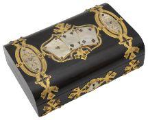 A Victorian coromandel playing card box