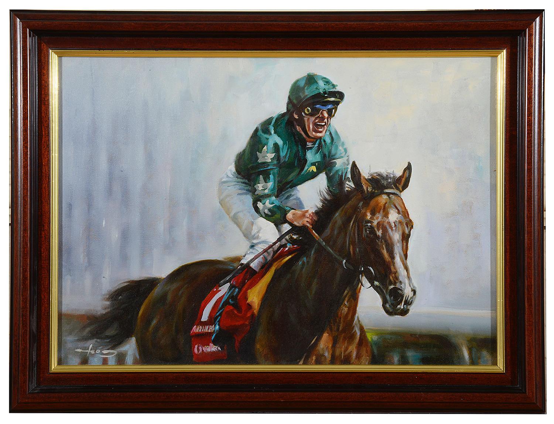 Lot 54 - Graham Isom (Brit. b.1945) 'Frankie Dettori at Royal Ascot', oil on canvas