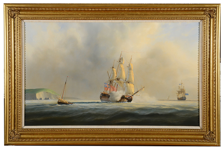 Lot 46 - Tim Thompson (Brit. born 1951) 'H.M.S. Newcastle' oil on canvas