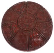 A Japanese Meiji period two section cinnabar lacquer manju