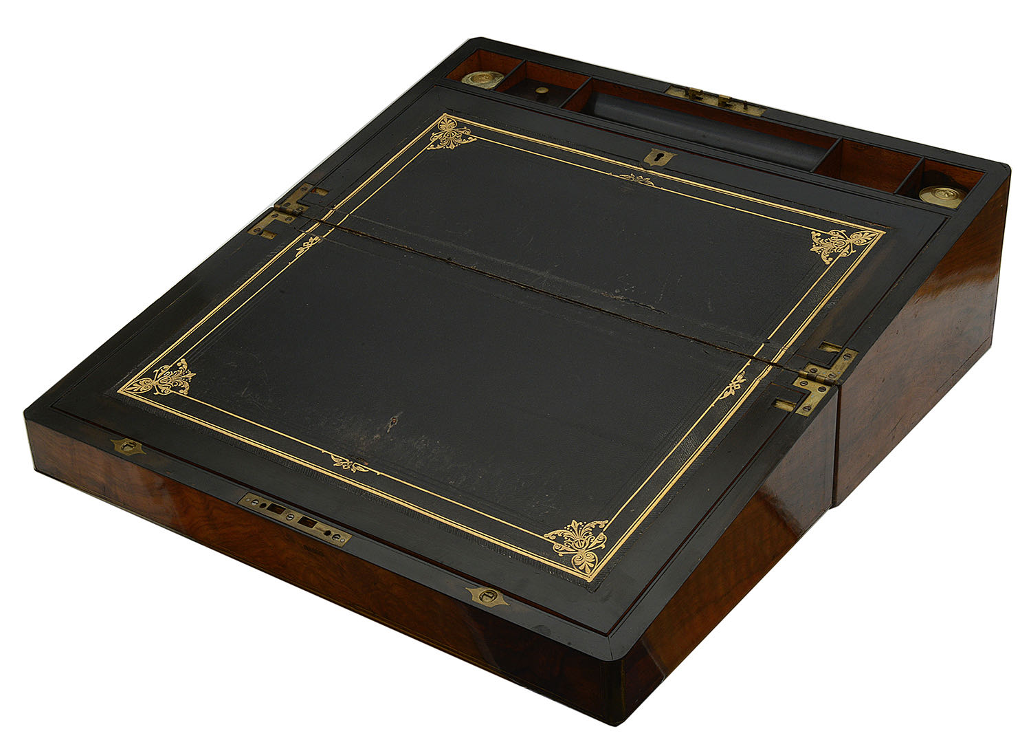 Lot 15 - A large Victorian brass bound writing slope