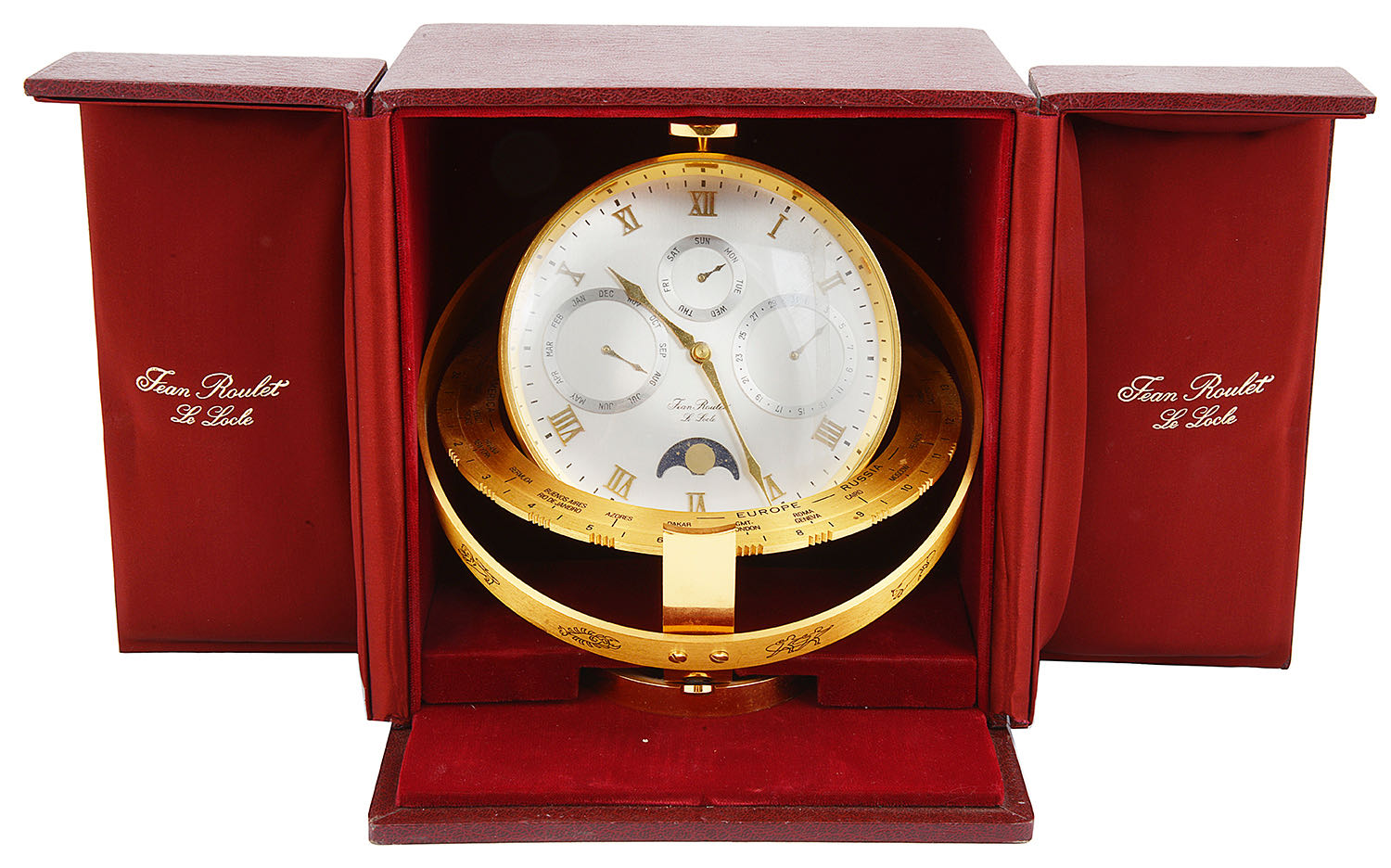 Lot 34 - A modern Jean Roulet Le Locle world time zone desk clock