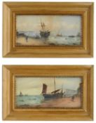 19th c. Brit. School 'A pair of coastal views with fishing boats on the shore', signed