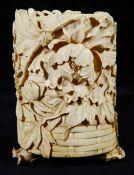 A Japanese Meiji period carved ivory tusk box