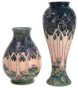 Two modern Moorcroft pottery 'Cluny' pattern vases designed Sally Tuffin