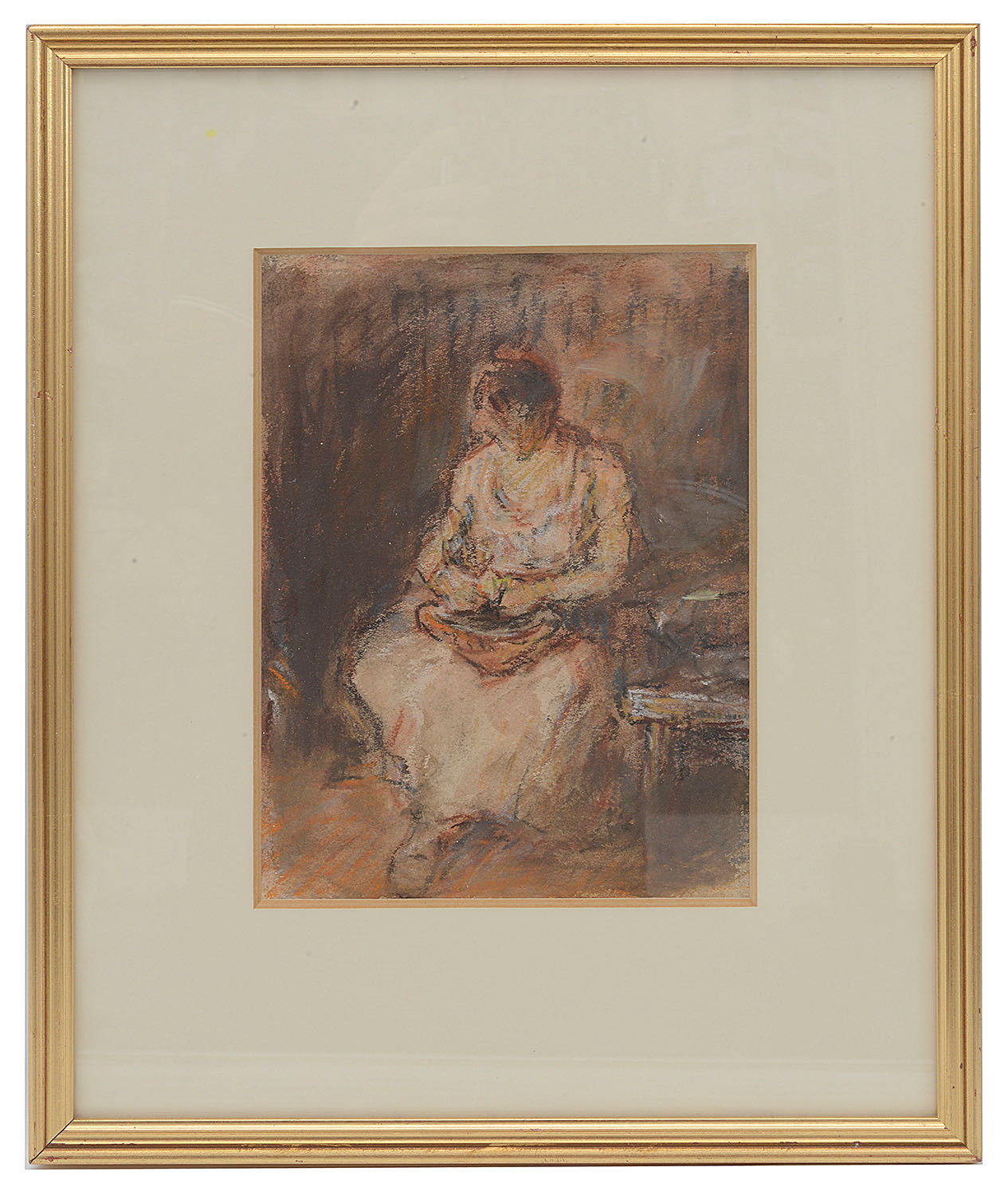 Lot 58 - Sholto Johnstone Douglas (Scot., 1871-1958) 'Woman in a kitchen', pastel