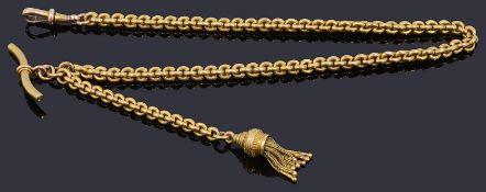 An attractive 15ct gold watch Albertina chain