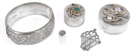 Three modern silver trinket pots, a silver cuff bangle and a Scottish silver triple heart brooch