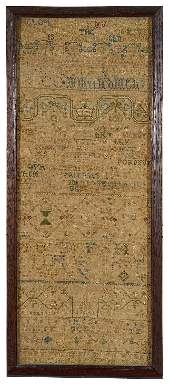 Lot 9 - An early 18th century sampler