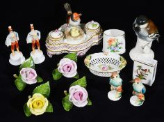A small selection of Herend porcelain to include an inkwell