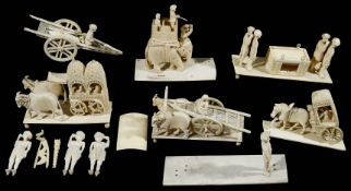 A collection of 19th century Indian carved ivory groups