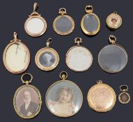 A collection of Victorian and later gold picture lockets