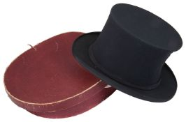 An early 20th c gentleman's collapsible black silk opera hat by Tress & Co.