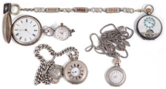 A selection of various silver pocket watches