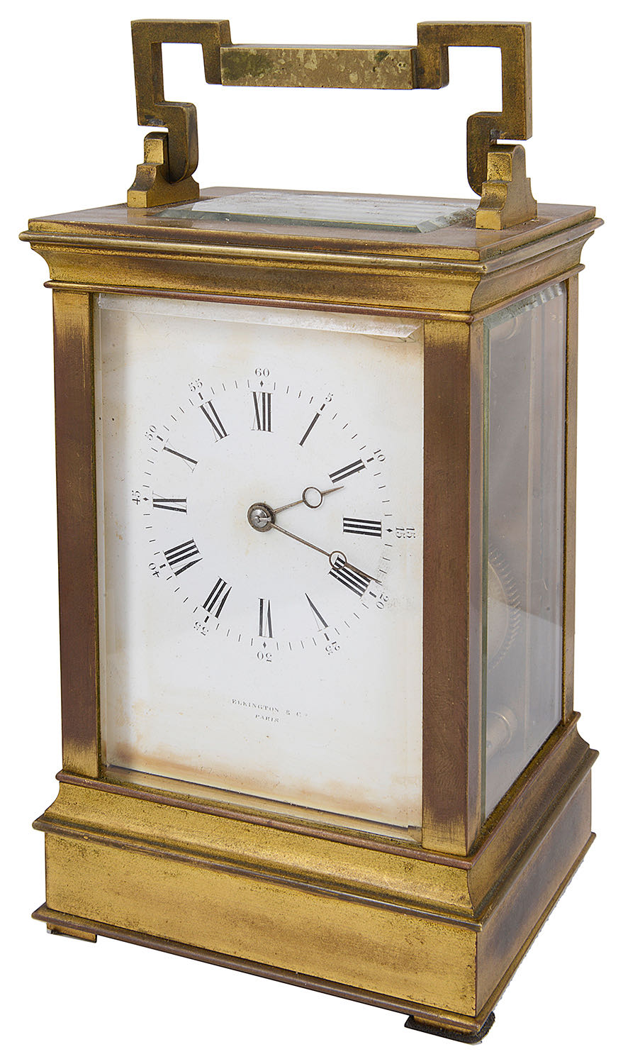 Lot 33 - A large late 19th c French four panel ormolu carriage clock retailed by Elkington