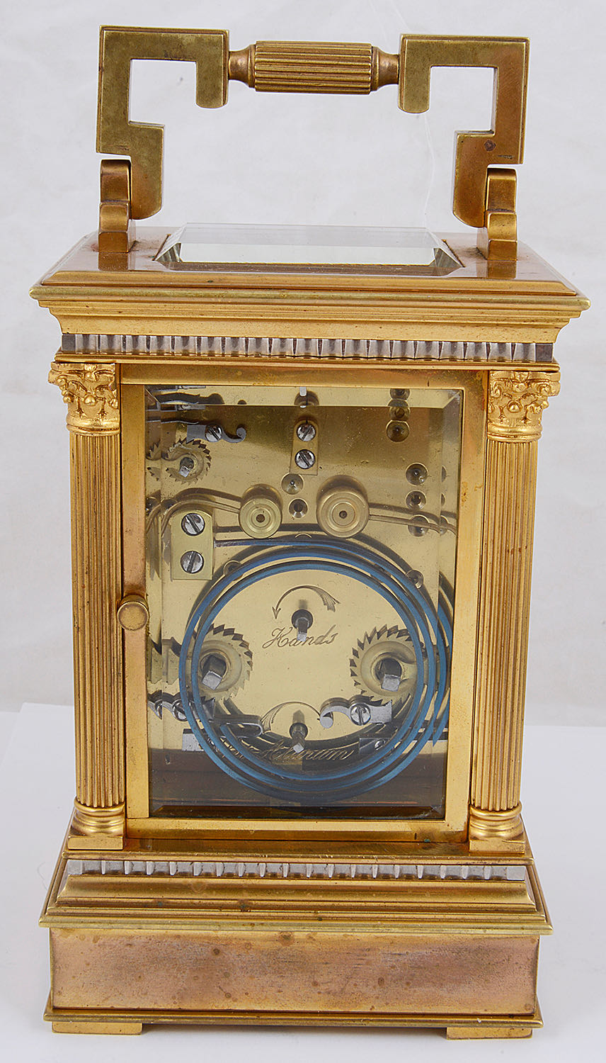 Lot 25 - An early 20th century French large gilt brass four pane carriage clock