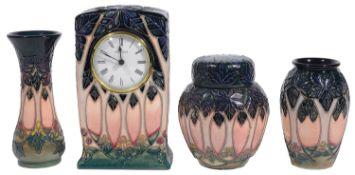 Moorcroft pottery 'Cluny' pattern mantel clock; others