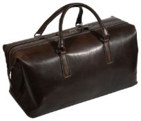 A Tanner Krolle stitched dark brown leather overnight bag
